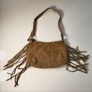 Sisley Genuine Suede Fringe Shoulder Bag